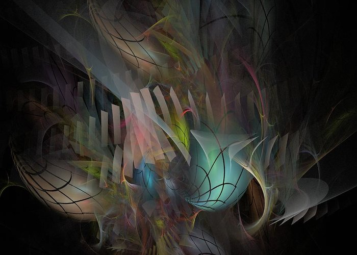 Fortune Greeting Card featuring the digital art Fortune Willing - Fractal Art by NirvanaBlues