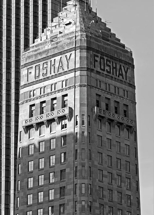 Foshay Tower Greeting Card featuring the photograph Foshay Tower in Black and White by Lonnie Paulson