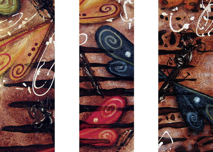 Abstract Greeting Card featuring the painting Fossil by Jill English
