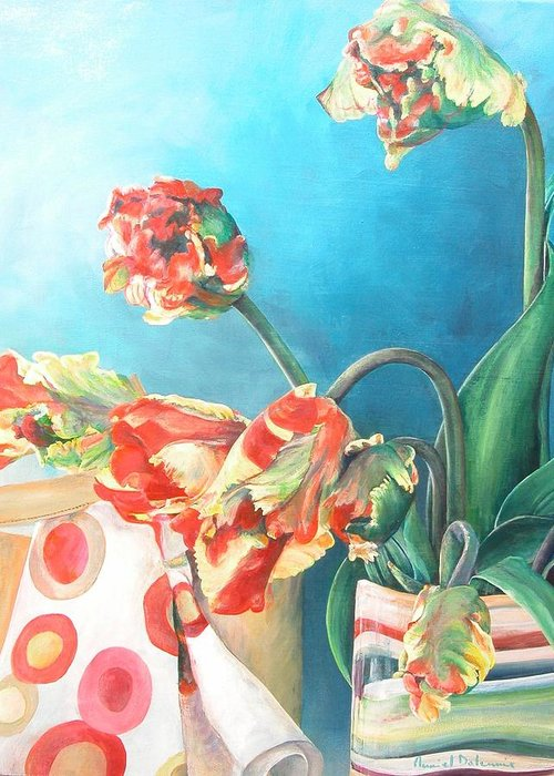 Still Life Greeting Card featuring the painting Foulard by Muriel Dolemieux