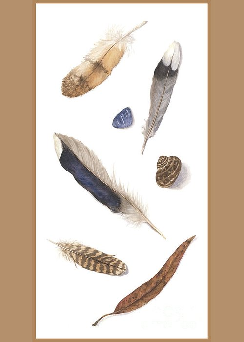 Feathers Greeting Card featuring the painting Found Treasures by Lucy Arnold