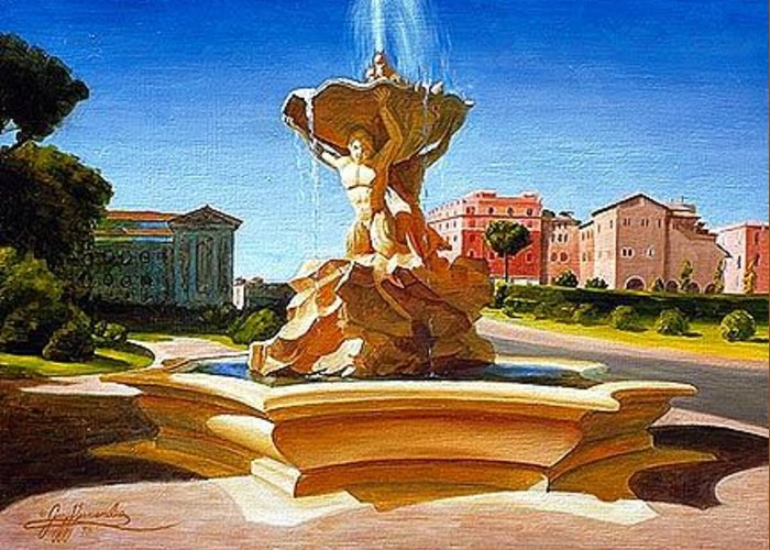 Rome Greeting Card featuring the painting Fountain In Piazza Bocca Della Verita by Gary Hernandez