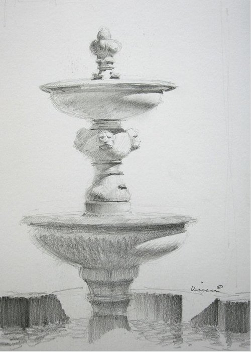 Graphite On Paper Greeting Card featuring the drawing Fountain One by Michael Vires