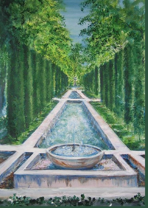Fountain Greeting Card featuring the painting Fountain Palma De Mallorca Capital by Lizzy Forrester