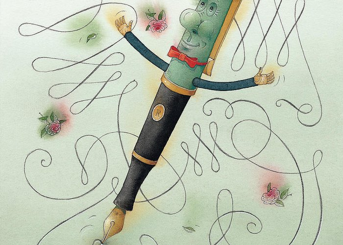 Pen Ice Winter Dance Slide Skate White Calligraphy Greeting Card featuring the painting Fountain-pen by Kestutis Kasparavicius