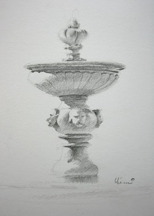 Graphite On Paper Greeting Card featuring the drawing Fountain Two by Michael Vires