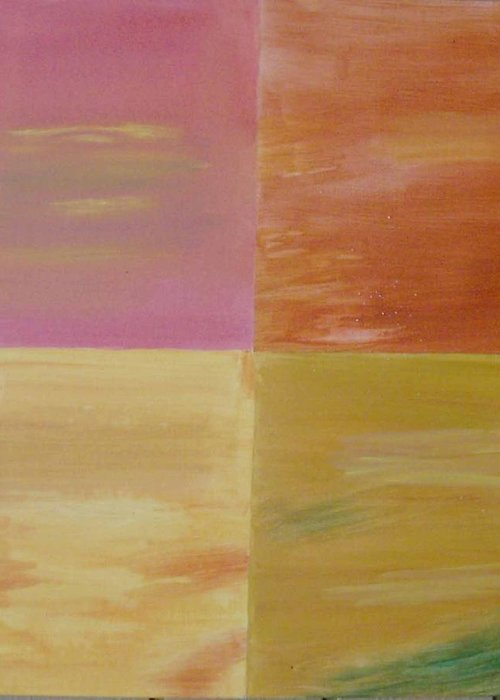 Mystic Colors Greeting Card featuring the painting Four Coloured Squares by Harris Gulko
