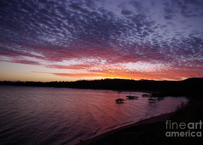Landscape Greeting Card featuring the photograph Four Elements Sunset Sequence 1 Coconuts Qld by Kerryn Madsen - Pietsch