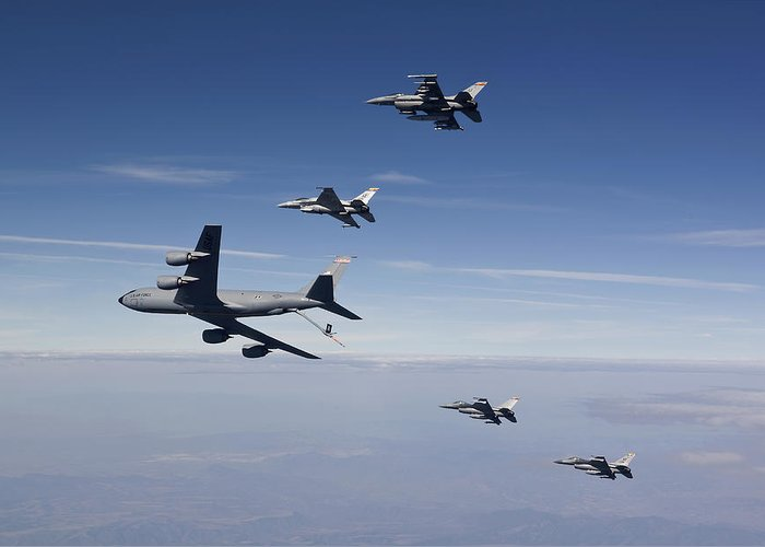 No People Greeting Card featuring the photograph Four F-16s And A Kc-135 Fly by HIGH-G Productions