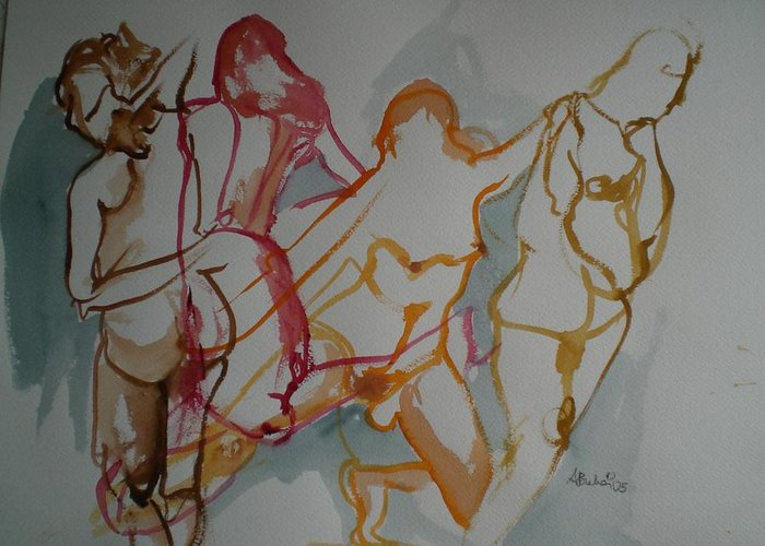 Female Nudes Greeting Card featuring the painting Four Female Figures by Aleksandra Buha