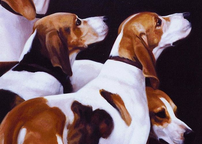 Fox Hound Greeting Card featuring the painting Four Fox Hounds by Janet Crawford