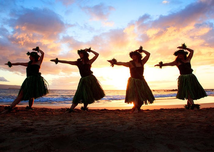 Hawaii Greeting Card featuring the photograph Four Hula Dancers At Sunset by David Olsen
