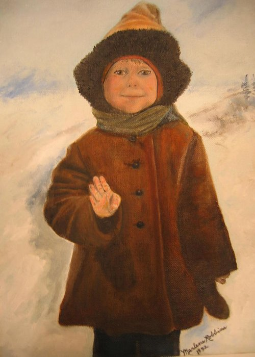 Child Greeting Card featuring the painting Four by Marlene Robbins