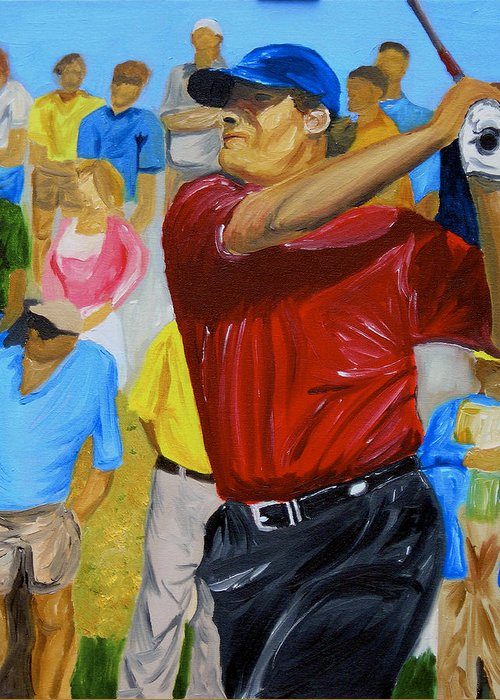 Golf Greeting Card featuring the painting Four by Michael Lee