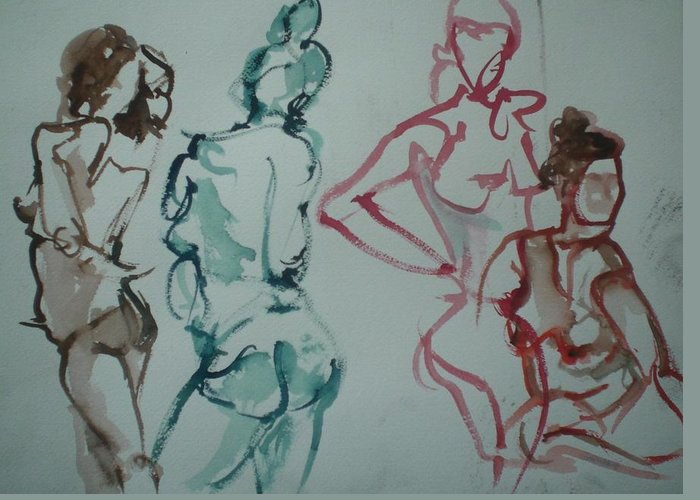 Nude Figures Greeting Card featuring the painting Four Nude Figures by Aleksandra Buha