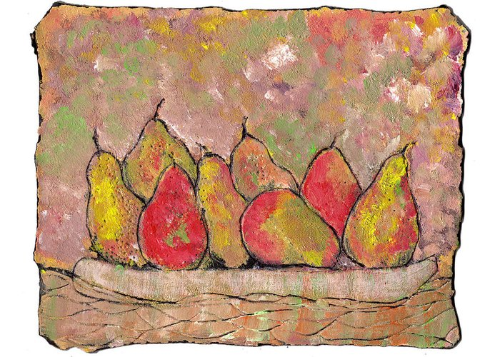 Pears Greeting Card featuring the painting Four Pair Of Pears by Wayne Potrafka