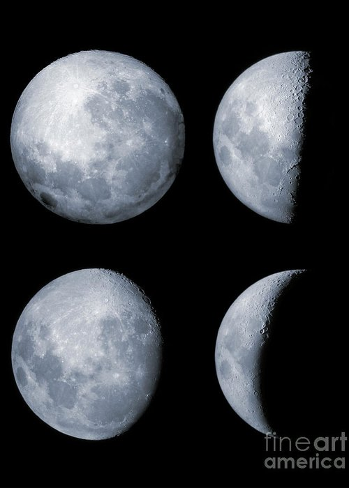Lunar Greeting Card featuring the photograph Four Phases Of The Moon by Rolf Geissinger