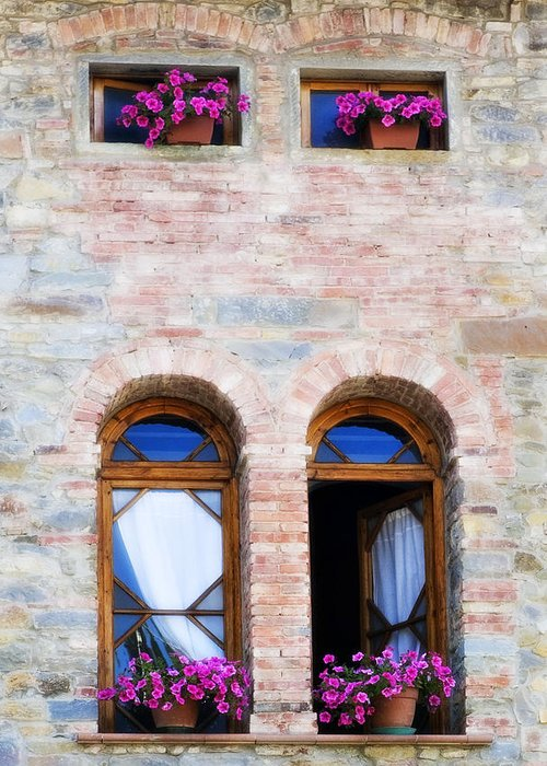 Architecture Greeting Card featuring the photograph Four Windows by Marilyn Hunt