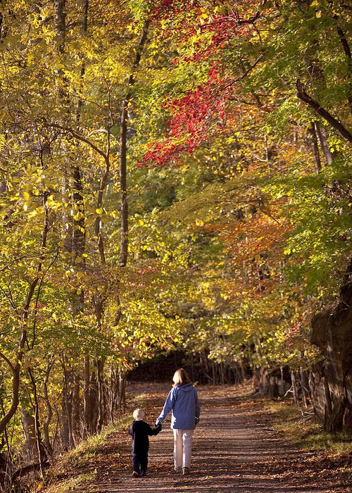 Outdoors Greeting Card featuring the photograph Four Year Old Boy And His Mom Walk Hand by Skip Brown
