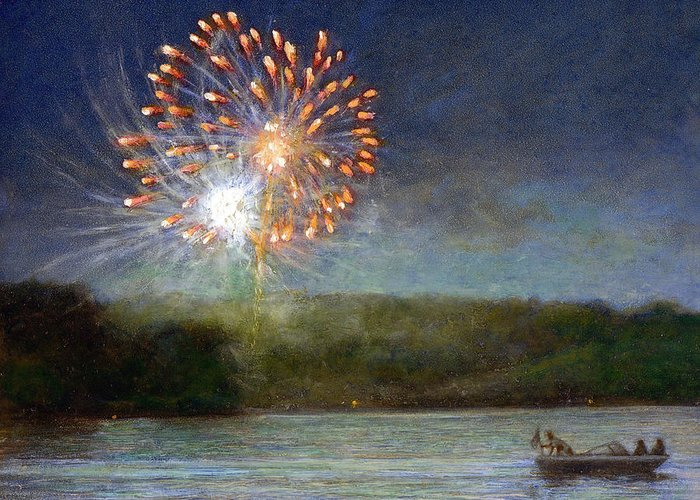Fireworks Greeting Card featuring the painting Fourth Of July- Cazenovia Lake by Wayne Daniels