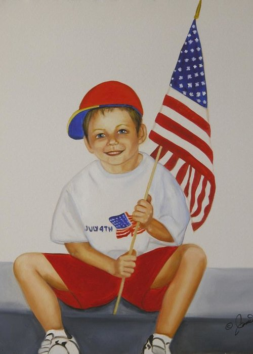 Holiday Greeting Card featuring the painting Fourth Of July by Joni McPherson