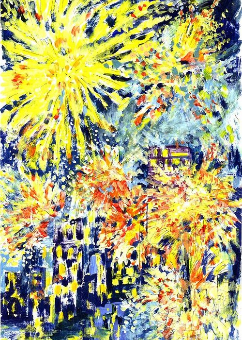 Fireworks Greeting Card featuring the painting Fourth Of July by Lily Hymen