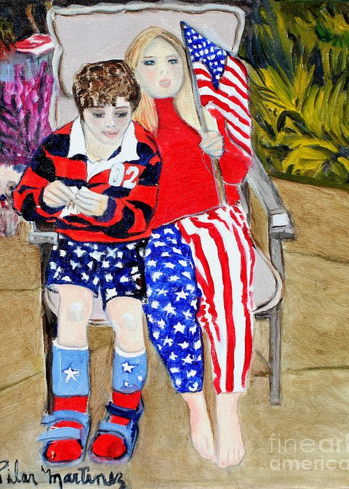 Greeting Card featuring the painting Fourth of July by Pilar Martinez-Byrne