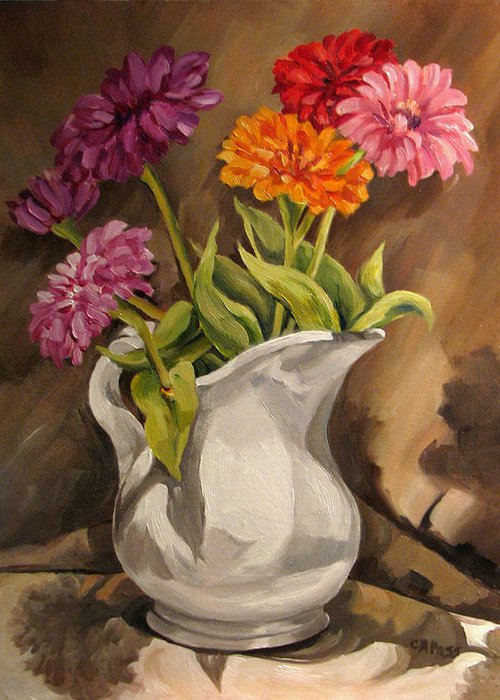 Contemporary Realism Greeting Card featuring the painting Fourth Of July Zinnias by Cheryl Pass