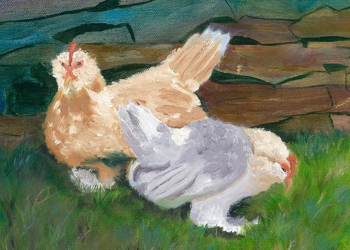 Chickens Bantams Countryside Stonewall Farm Greeting Card featuring the painting Fowl Play by Paula Emery