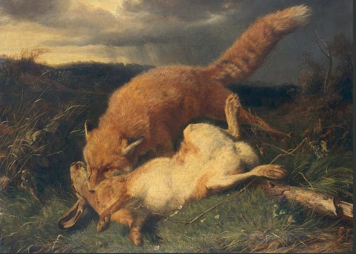 Fox Greeting Card featuring the painting Fox And Hare by Johann Baptist Hofner