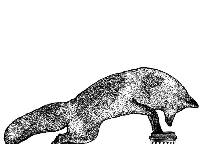 Drawing Greeting Card featuring the drawing Fox Drinking Coffee by Karl Addison