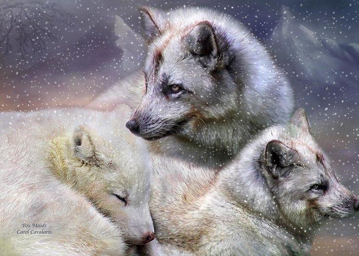 Fox Greeting Card featuring the mixed media Fox Moods by Carol Cavalaris