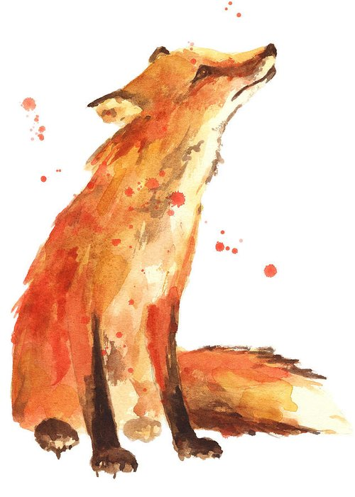 Red Fox Greeting Card featuring the painting Fox Painting - Print from Original by Alison Fennell