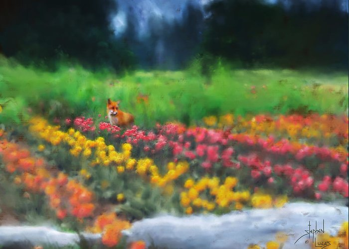 Fox Greeting Card featuring the digital art Fox Watching The Tulips by Stephen Lucas