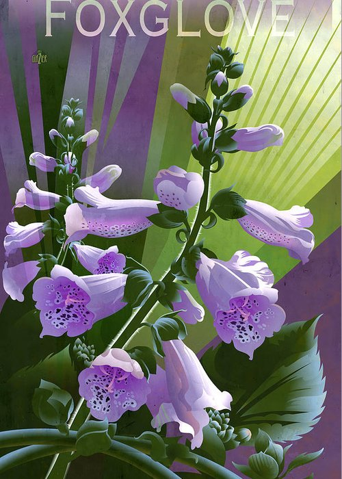 Digitalis Greeting Card featuring the painting Foxglove Digitalis Floral by Garth Glazier