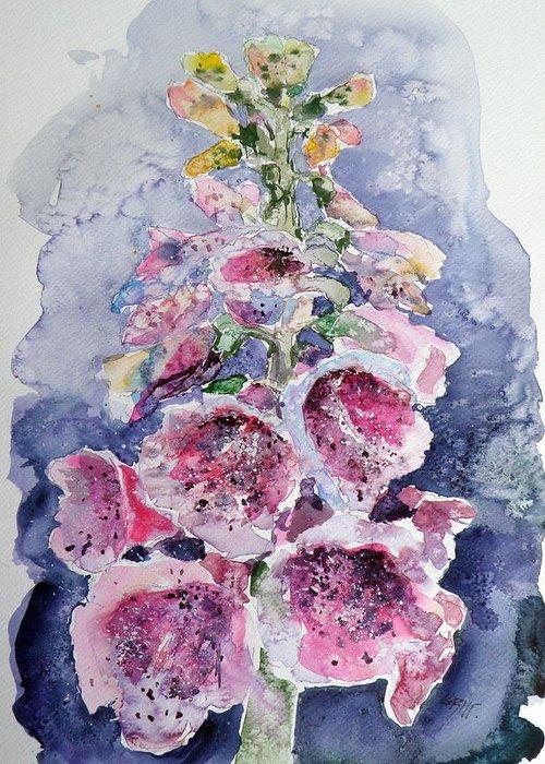 Foxglove Greeting Card featuring the painting Foxglove by Kovacs Anna Brigitta