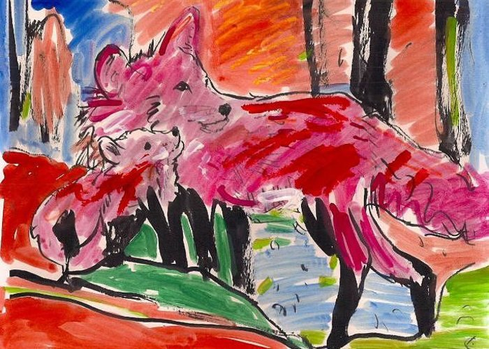 Animals. Greeting Card featuring the painting Foxwoods. by Samuel Zylstra