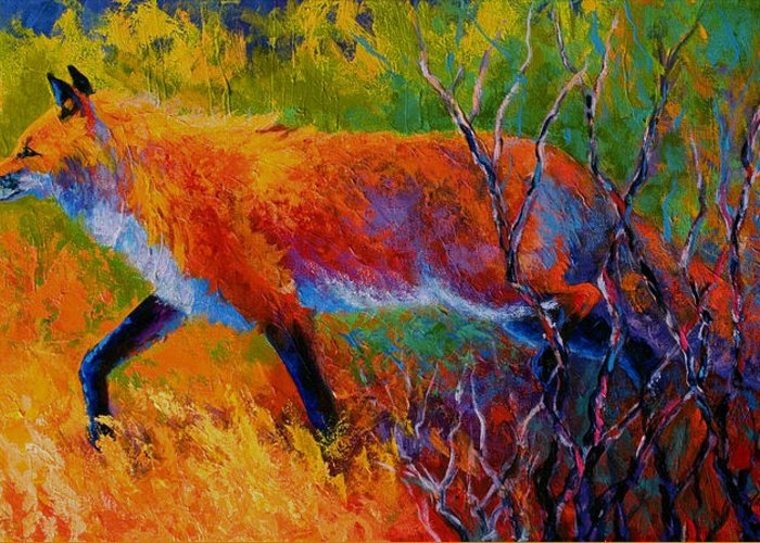 Red Fox Greeting Card featuring the painting Foxy - Red Fox by Marion Rose