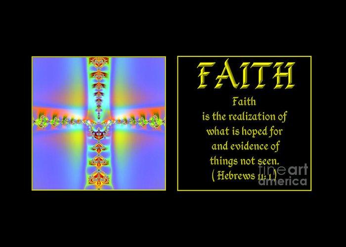 Faith Greeting Card featuring the digital art Fractal Faith Hebrews 11 by Rose Santuci-Sofranko