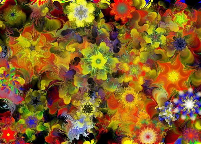 Digital Painting Greeting Card featuring the digital art Fractal Floral Study 10-27-09 by David Lane