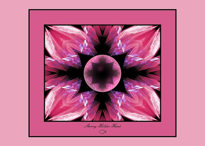 Fractal Greeting Card featuring the digital art Fractal Fun In Pink by Sherry Holder Hunt