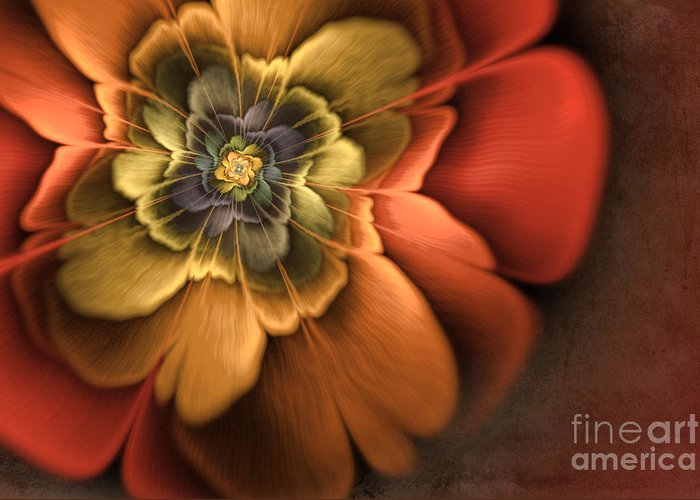 Flame Fractal Greeting Card featuring the digital art Fractal Pansy by John Edwards