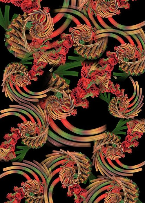 Fractal Greeting Card featuring the digital art Fractal Patterning by Ron Bissett