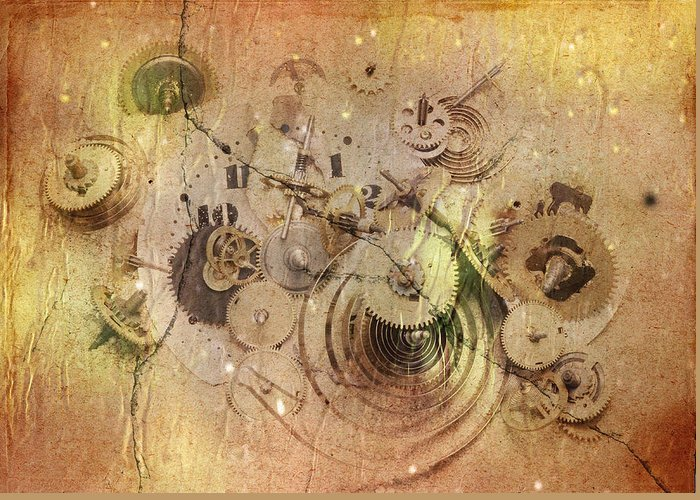 Grunge Greeting Card featuring the digital art Fragmented Time by Michal Boubin
