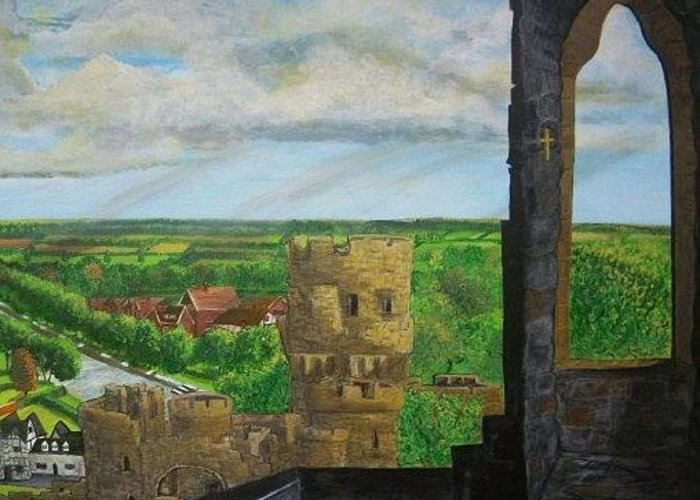 United Kingdom Greeting Card featuring the painting Framlingham Castle by Richard Hubal