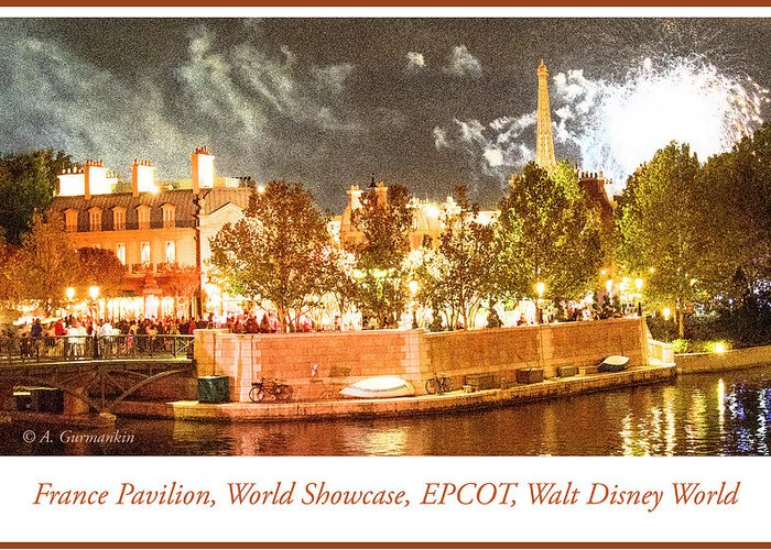 France Pavilion Greeting Card featuring the digital art France Pavilion At Night With Fireworks, Epcot, Walt Disney Worl by A Gurmankin