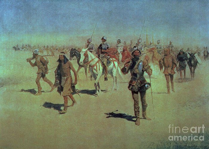 Francisco Greeting Card featuring the painting Francisco Vasquez De Coronado Making His Way Across New Mexico by Frederic Remington