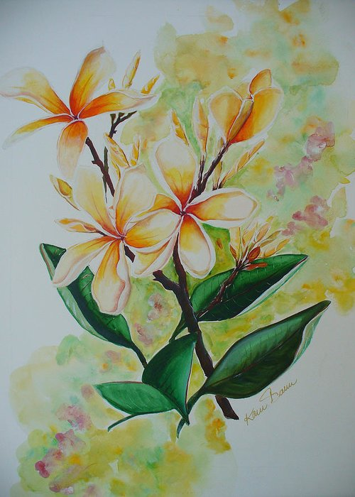 Greeting Card featuring the painting Frangipangi by Karin Dawn Kelshall- Best