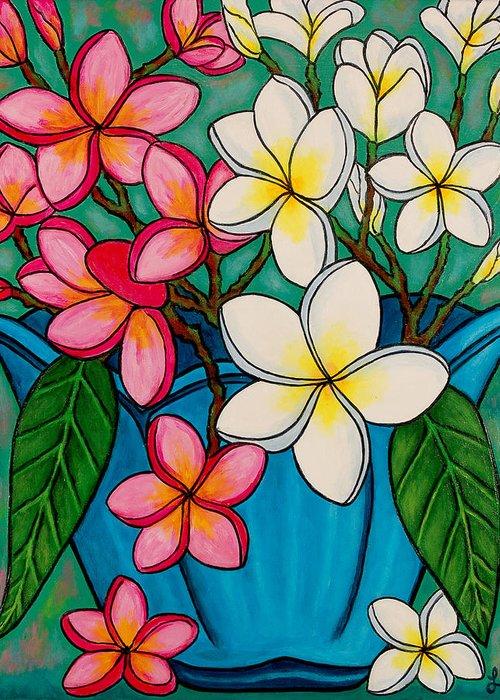 Frangipani Greeting Card featuring the painting Frangipani Sawadee by Lisa Lorenz