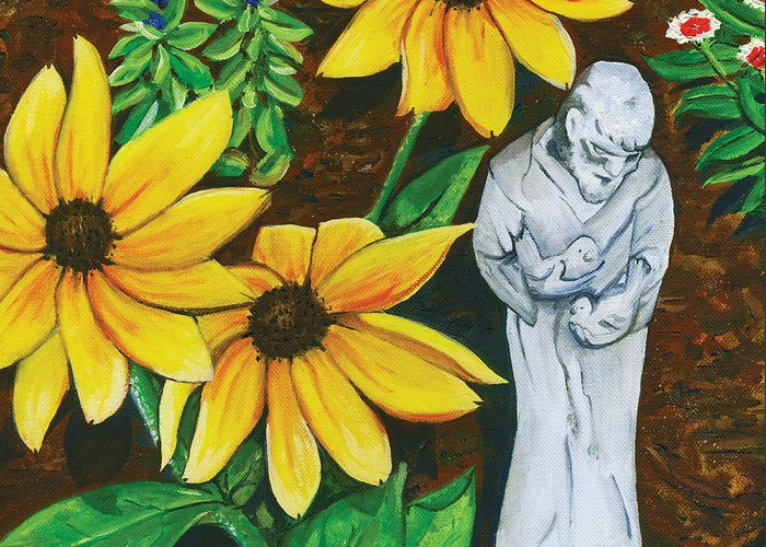 St. Francis Greeting Card featuring the painting Frank And Susan by Laura Brightwood